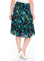 Garden Printed Smocked Cotton Midi Skirt Navy/Teal/Jade - Gallery Image 2