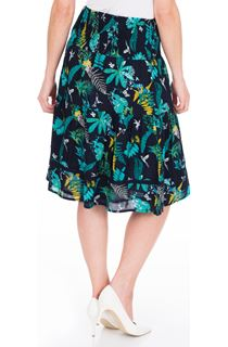 Garden Printed Smocked Cotton Midi Skirt