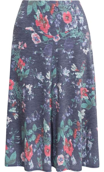 Anna Rose Floral Fit And Flare Midi Skirt White/Coral