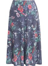 Anna Rose Floral Fit And Flare Midi Skirt White/Coral - Gallery Image 1