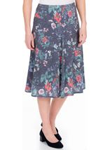Anna Rose Floral Fit And Flare Midi Skirt White/Coral - Gallery Image 2