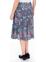 Anna Rose Floral Fit And Flare Midi Skirt White/Coral - Gallery Image 3