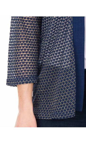 Lightweight Knitted open Cover Up Navy - Gallery Image 3