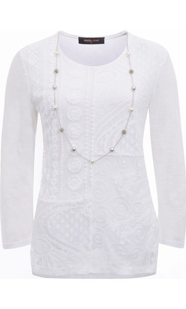 Anna Rose Lace Front Top With Necklace White/Multi