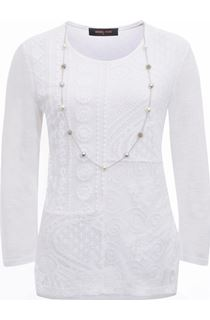 Anna Rose Lace Front Top With Necklace