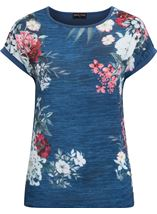 Anna Rose Short Sleeve Embellished Print Top Blue/Coral - Gallery Image 1