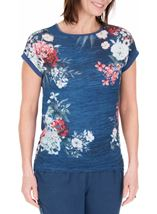 Anna Rose Short Sleeve Embellished Print Top Blue/Coral - Gallery Image 2