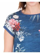 Anna Rose Short Sleeve Embellished Print Top Blue/Coral - Gallery Image 4