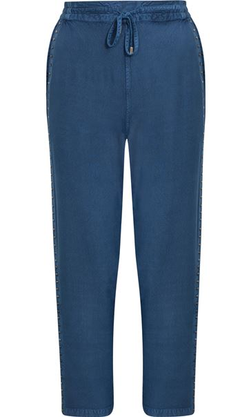 Anna Rose Pull On Embellished Trousers Denim Blue