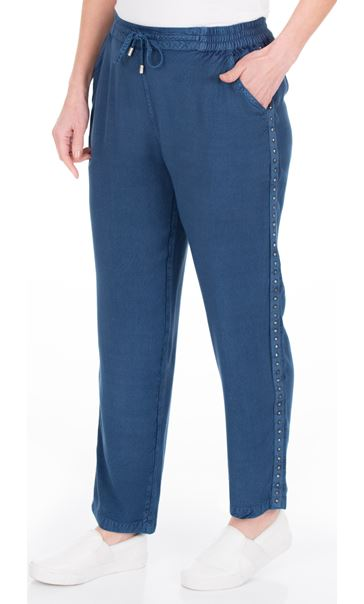 Anna Rose Pull On Embellished Trousers Denim Blue - Gallery Image 2