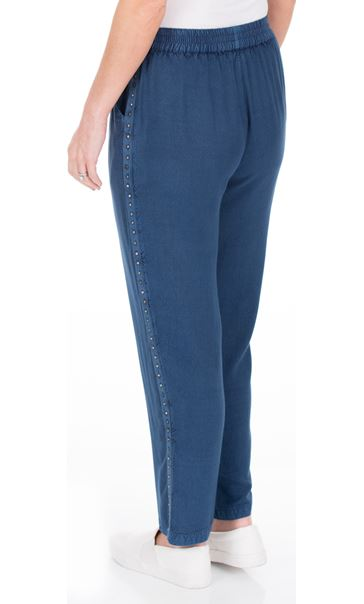 Anna Rose Pull On Embellished Trousers Denim Blue - Gallery Image 3