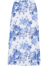 Anna Rose Pull On Pleated Midi Skirt White/Cobalt - Gallery Image 1