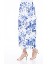 Anna Rose Pull On Pleated Midi Skirt White/Cobalt - Gallery Image 2