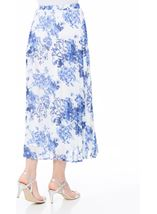 Anna Rose Pull On Pleated Midi Skirt White/Cobalt - Gallery Image 3