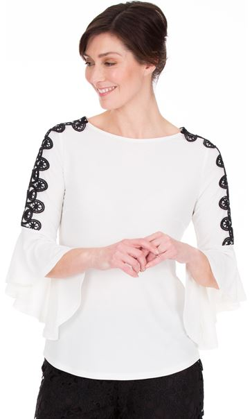 Frill Sleeve Crochet Trim Top Ivory