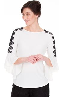 Frill Sleeve Crochet Trim Top