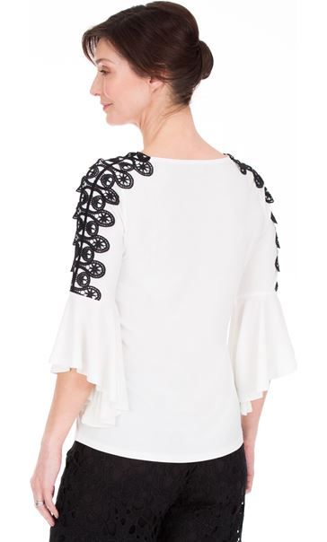 Frill Sleeve Crochet Trim Top Ivory - Gallery Image 2
