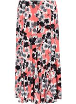 Anna Rose Panelled Floral Midi Skirt Coral/Grey - Gallery Image 2