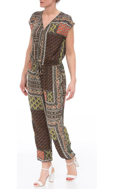 Printed Zip Front Jumpsuit Multi