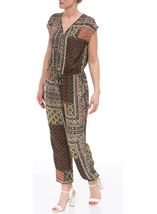 Printed Zip Front Jumpsuit Multi - Gallery Image 1