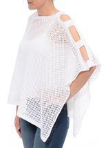 Knitted Poncho White - Gallery Image 1