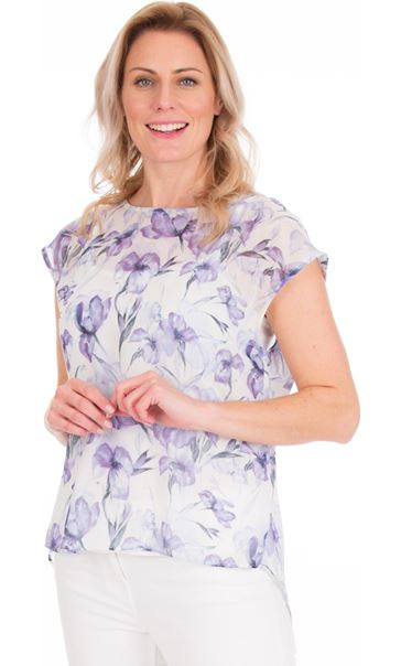 Loose Fit Floral Chiffon Top Lilac/Grey
