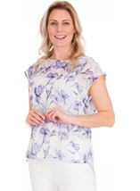 Loose Fit Floral Chiffon Top Lilac/Grey - Gallery Image 1