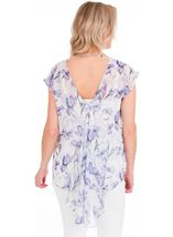 Loose Fit Floral Chiffon Top Lilac/Grey - Gallery Image 2