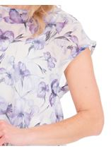 Loose Fit Floral Chiffon Top Lilac/Grey - Gallery Image 3