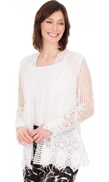 Long Sleeve Open Front Crochet Cardigan White