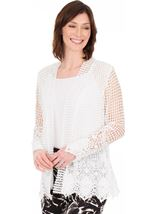 Long Sleeve Open Front Crochet Cardigan White - Gallery Image 1