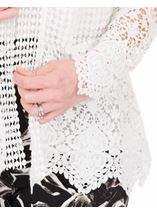 Long Sleeve Open Front Crochet Cardigan White - Gallery Image 3