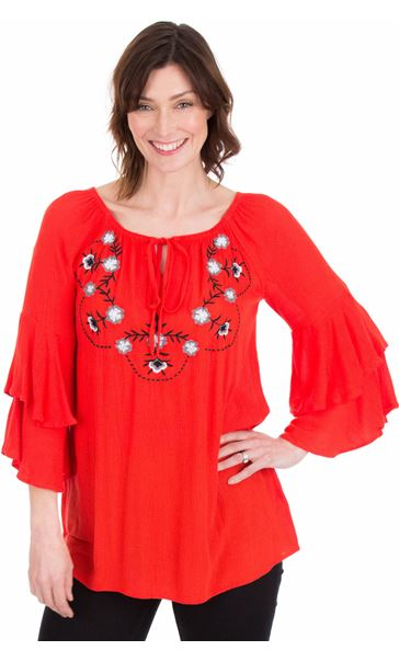 Embroidered Layered Sleeve Top Ruby