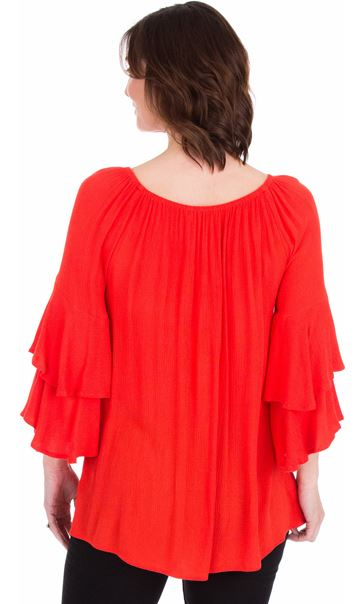 Embroidered Layered Sleeve Top Ruby - Gallery Image 2