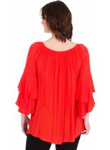 Embroidered Layered Sleeve Top Red - Gallery Image 2