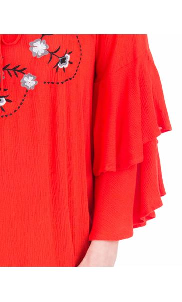 Embroidered Layered Sleeve Top Ruby - Gallery Image 3