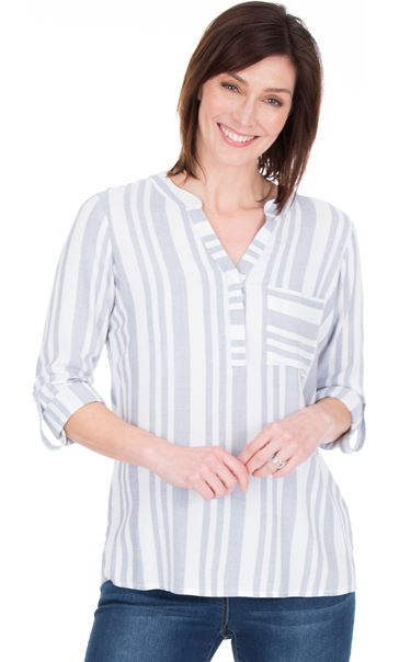 Turn Sleeve Striped Cotton Top - Blue/White