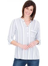 Turn Sleeve Striped Cotton Top Blue/White - Gallery Image 1