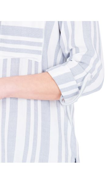 Turn Sleeve Striped Cotton Top Blue/White - Gallery Image 3