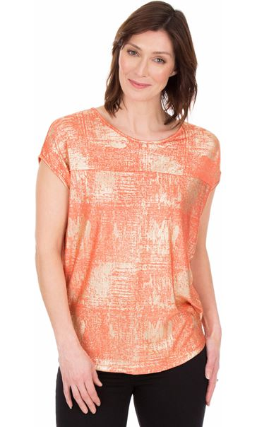 Loose Fit Foil Printed Top Coral/Multi