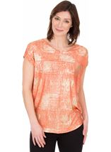 Loose Fit Foil Printed Top Coral/Multi - Gallery Image 1