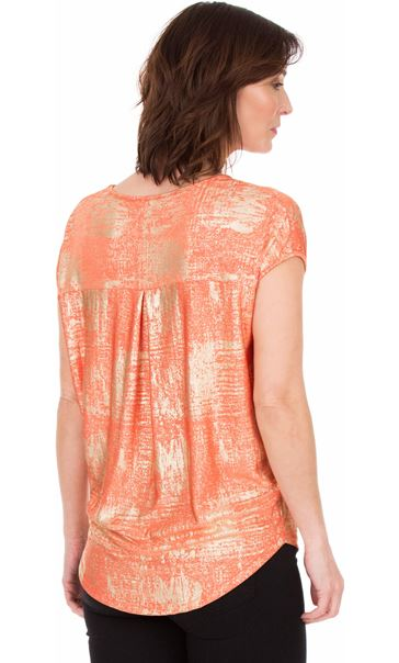 Loose Fit Foil Printed Top Coral/Multi - Gallery Image 2