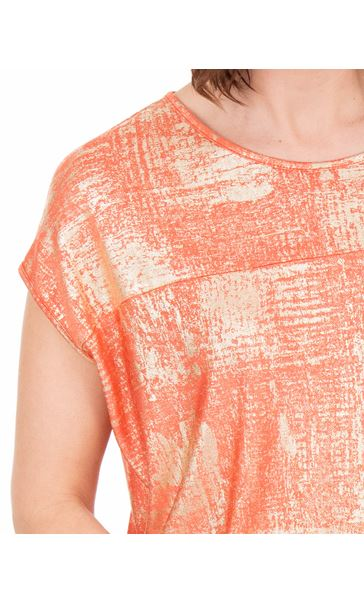Loose Fit Foil Printed Top Coral/Multi - Gallery Image 3