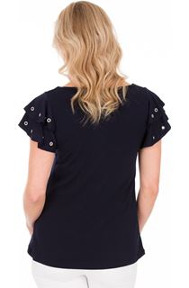 Embellished Eyelet Short Sleeve Top