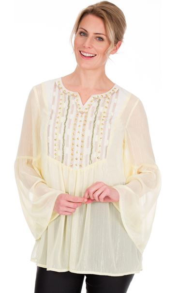 Embellished Chiffon Top Lemon