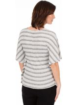 Knitted Stripe Short Sleeve Top White/Black - Gallery Image 2