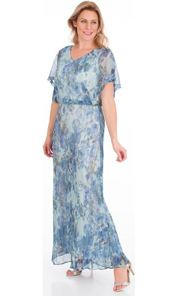 Floral Printed Shimmer Maxi Dress Blue/Silver