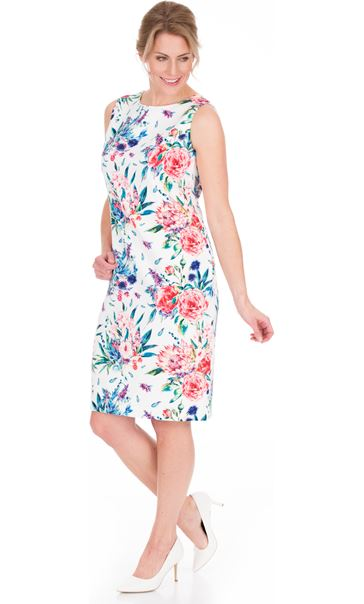 In Bloom Printed Sleeveless Scuba Dress Ivory Multi