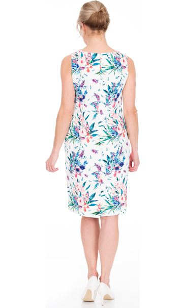 In Bloom Printed Sleeveless Scuba Dress Ivory Multi - Gallery Image 2