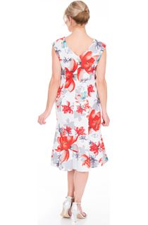 Frill Hem Printed Scuba Dress